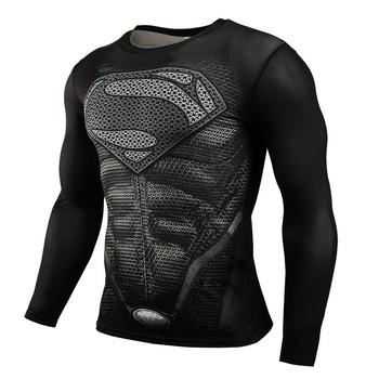 Nowy 2019 Superman Punisher Rashgard koszulka do biegania męska koszulka z długim rękawem koszule kompresyjne koszulka na siłownie fitness sport koszula męska tanie i dobre opinie KAIERKANG Poliester Pasuje prawda na wymiar weź swój normalny rozmiar Lato Wiosna AUTUMN Long sleeve shirts Super elastic Quick dry Breathable