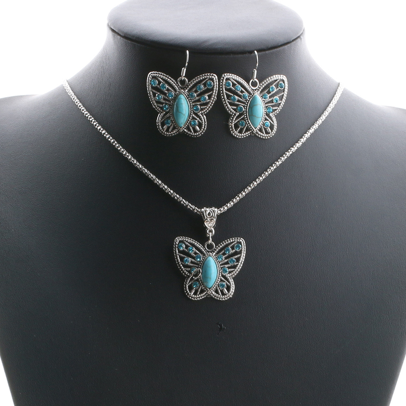 Boho Jewelry Sets Necklace Earrings Crystal Faux Butterfly Statement Jewelry Party Wedding Pendant Dress Accessories