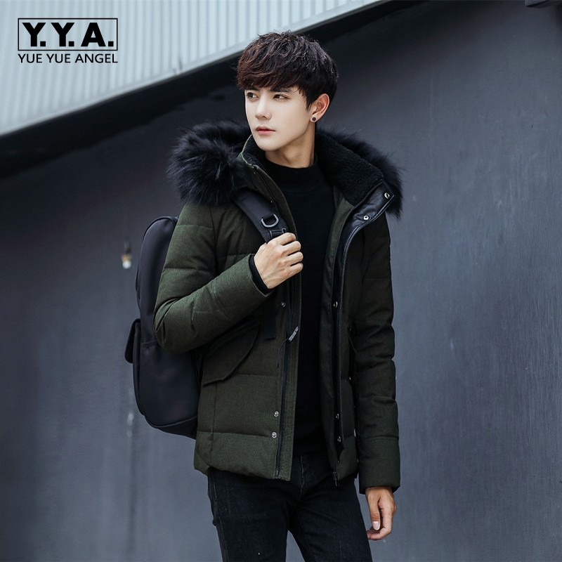 2018 New Arrival Winter Male Down Jacket Parka Raccoon Fur Collar Hooded Coat For Men Thick Warm Sobretudo Masculino Overcoats raccoon big fur winter warm down jacket 2017 new men thick hooded coat long mens parka jacket high quality brand 3 color 790