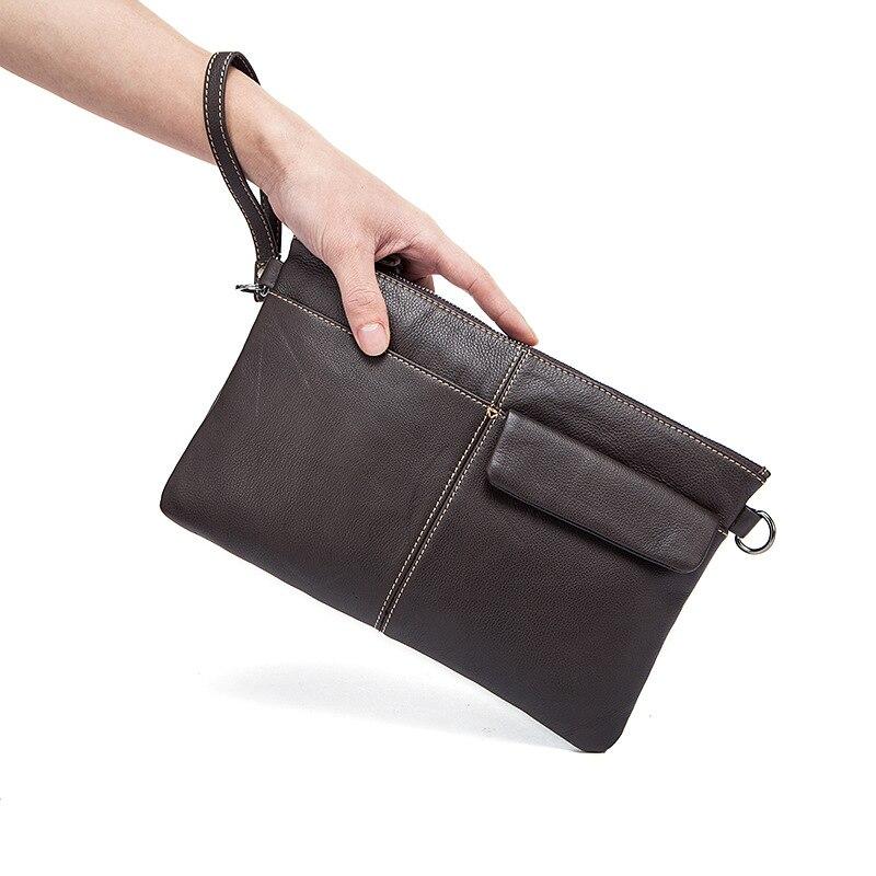 2018 Wristlet Handbags First layer Genuine Leather Business Single Shoulder Bag Money Bag Messenger Bag Men Vintage Clutch bag все цены