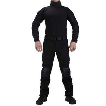 Tactique BDU noir Combat uniformes chemise avec broek et coudières et genouillères militaire jeu cosplay uniforme décontracté
