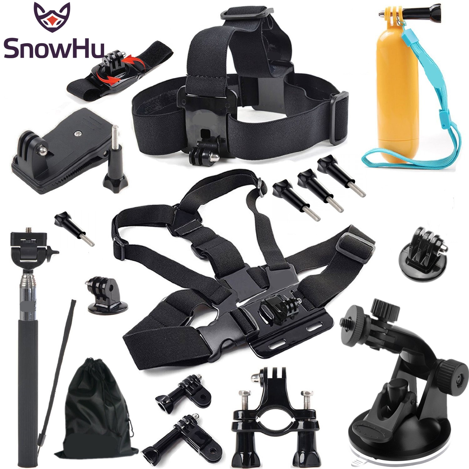 SnowHu For go pro Accessories Head chest strap bracelet Monopod with Mount Adapter for GoPro Hero