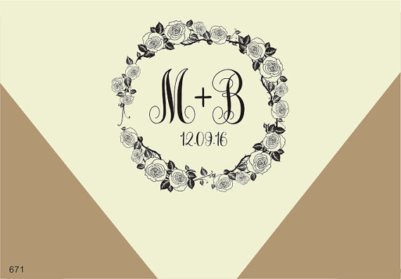 wedding monogram stamps 1 5 u0026quot x1 5 u0026quot  rose border rubber stamp custom initial wreath  u0026 flower