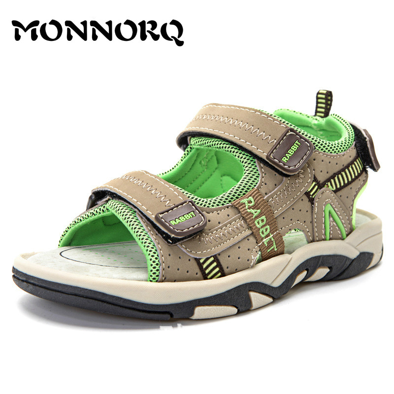 MONNORQ 2018 New Summer Children Shoes for Boys Beach Sandals Breathable Hook&Loop Shoes Girls Outdoor Sandals Sneakers 326