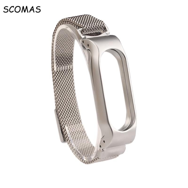 SCOMAS Cinturino In Metallo Per Xiaomi Mi Fascia Inox 2 magnetico Bracciale in acciaio Per MiBand 2 Braccialetti Accessori Per Mi Fascia 2