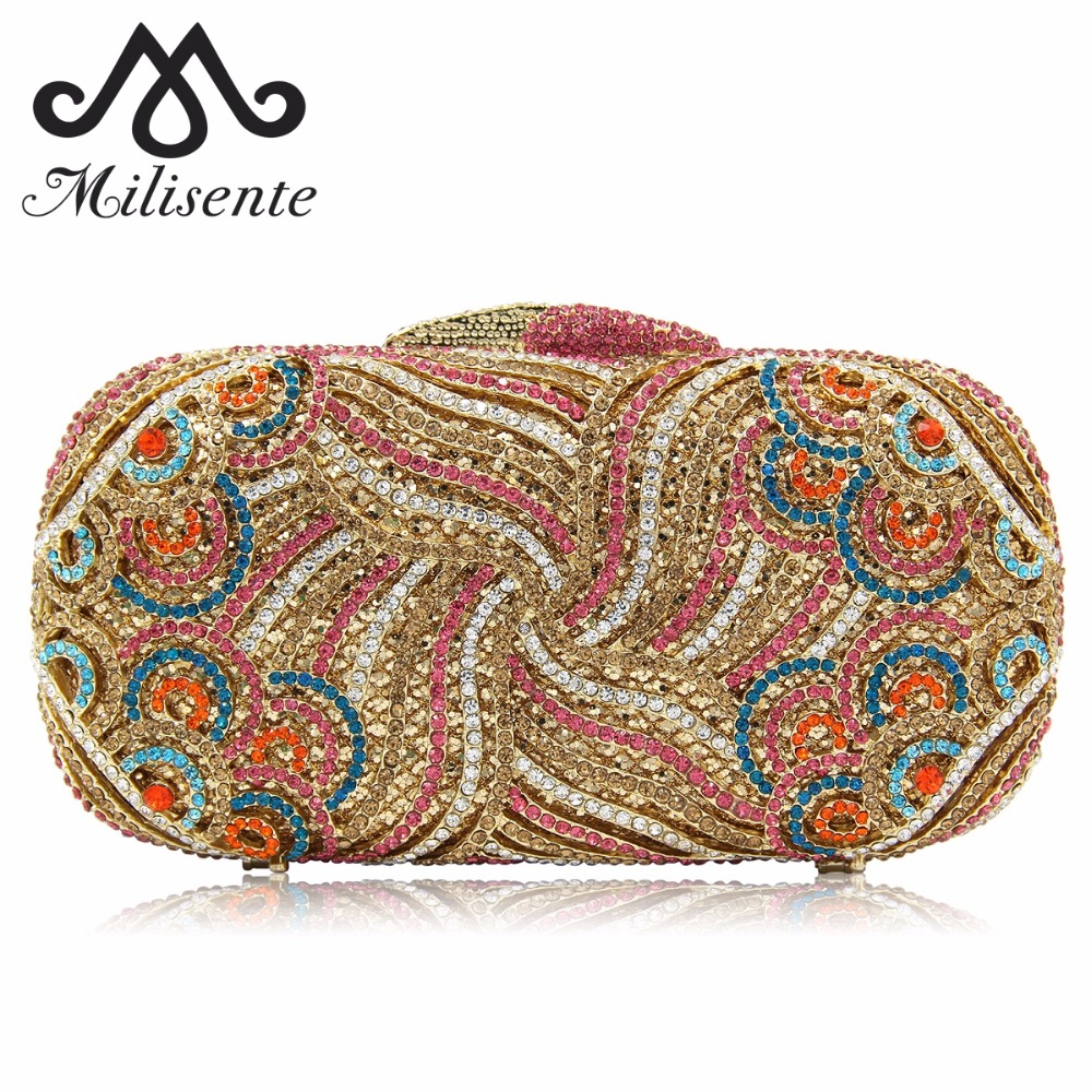 Milisente Wholesale Luxury Gold Crystal Lady Dinner Party Purses Women Clutch Wedding Clutches Bags milisente high quality luxury crystal evening bag women wedding purses lady party clutch handbag green blue gold white