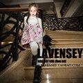 Lavensey Estampado floral Falda Del Bebé de Manga Corta de Una Sola Pieza Set Backless Lindo Faldas Halt Top Niños Falda Con Botón 2-10Y