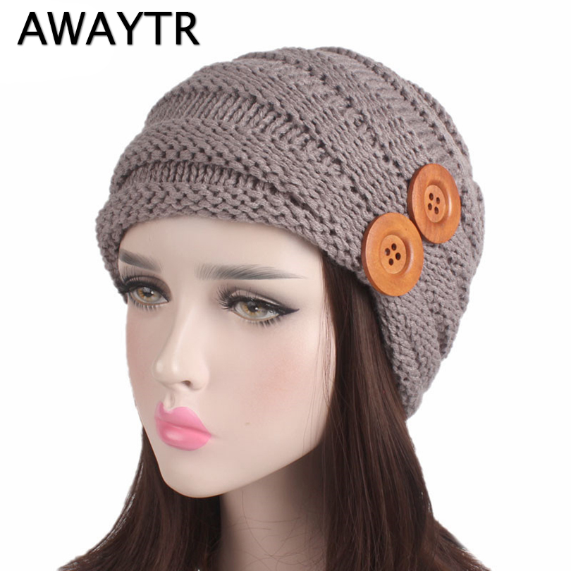 AWAYTR Skullies & Beanies Buttons Knitted Skullies Warm Headwear Beanie Watch Cap Winter Hats for Women Winter Hat 2017 autumn and winter womens beanie brand knitted hat turban butterfly diamond skullies cap ladies lnit hats for women beanies
