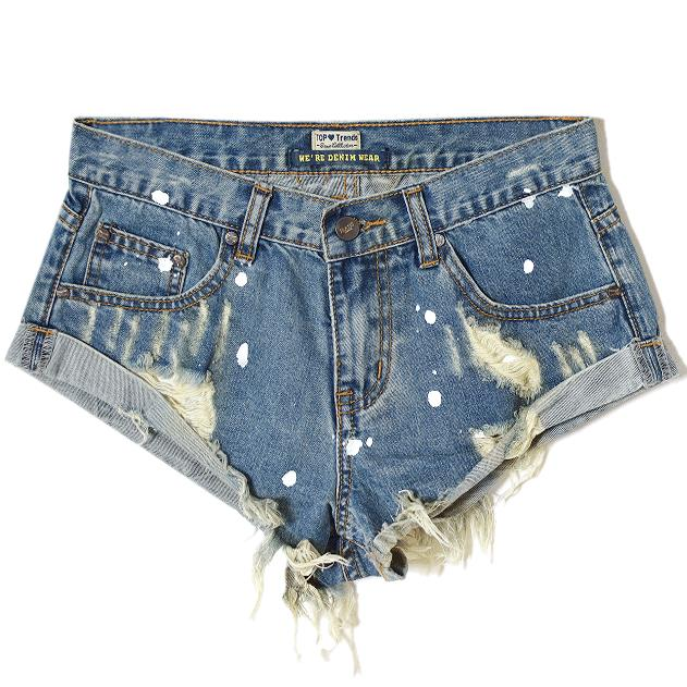 Jeans Shorts Tassel Waist-Hole Sexy Summer Fashion Mid Painted Frayed Washed