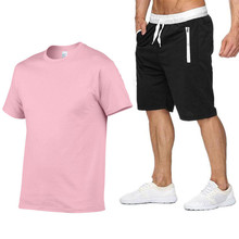 New brand  funny print high quality mens T-shirt set 2 pieces casual short-sleeved O-neck fashion cotton shorts