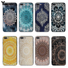 Yinuoda mandala ronde paars Zwart Soft Cover case Voor iPhone 5 5 s SE 6 6 plus 7 7 Plus 8 8 plus X XS XR XSMax(China)
