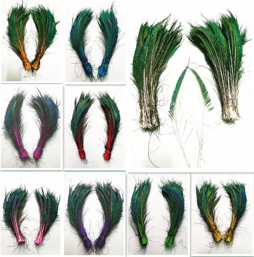 50 pcs Petit paon Yeux plumes de couleur naturelle