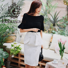 Dabuwawa 2019 New Summer Womens Double-Dreasted A-Line White Bodycon Skirts DN1BSK012