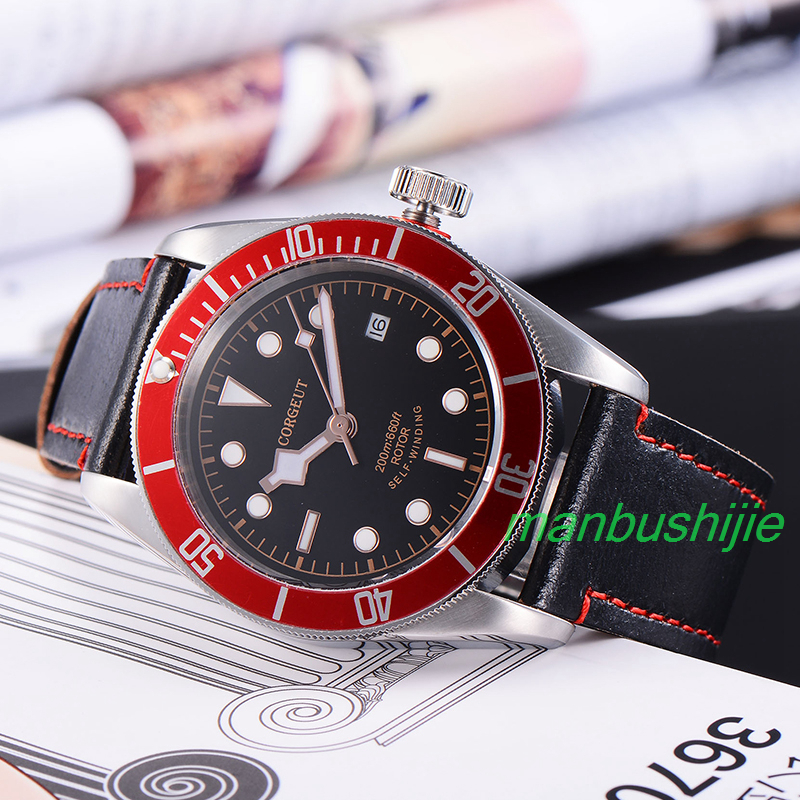 41MM Corgeut Wristwatches Black Dial red bezel Luminous Marks sapphire glass 20ATM Men miyota Automatic water resistant Watch C5  41mm corgeut black dial red bezel 21 jewels miyota automatic diving mens watch