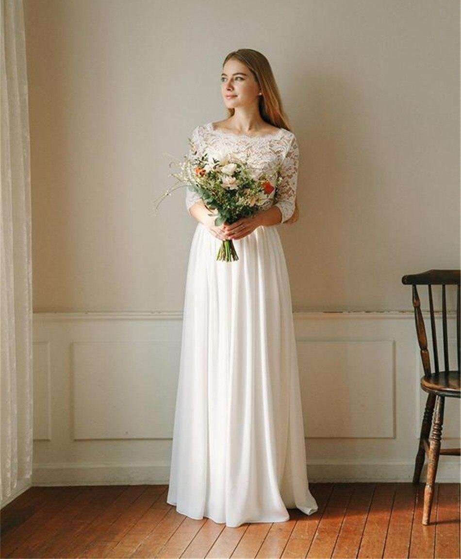 Cheap White Ivory Wedding Dresses Mermaid Lace Appliques: Cheap Chiffon Lace Appliques Two Pieces Wedding Dress Long