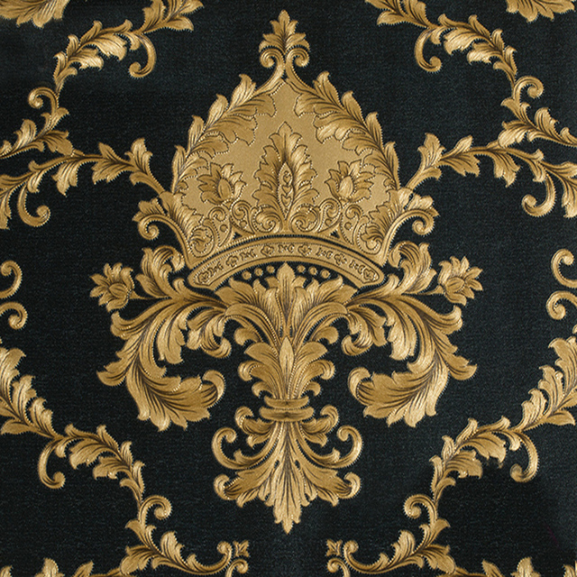 Black And Gold Damask Wallpaper