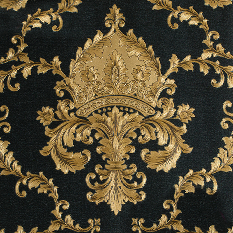 Online buy wholesale gold pvc from china gold pvc for Carta da parati damascata oro