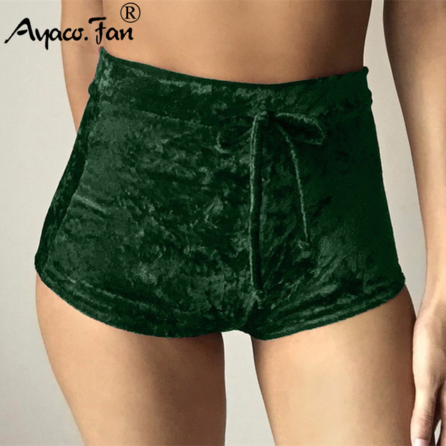 2019 Summer New Women Pink Velvet Slim Sports Shorts Sexy Bodycon Workout Flannel Short Pants Casual Lady Elastic Soft Sportwear 10