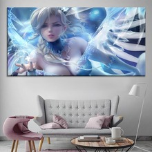 Snow Queen Mercy Sexy Overwatch Painting On Canvas Print Type And The Wall Decor Artwork 1 Panel Style Game Large Poster