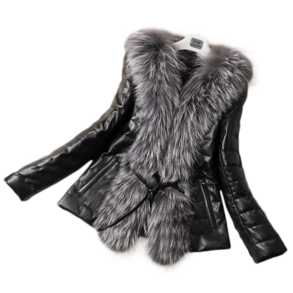 Fall Winter Style Pu Leather Stitching Faux Fox Fur Coats Plus Size Slim Outerwear Womens Man-Made Fur Outwears Fur Jackets