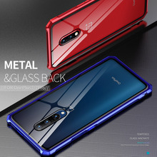 Aluminum Bumper Phone Case For OnePlus 7 Pro Cases Shockproof Armor Metal Frame Tempered Glass Cover For OnePlus 7 Case Luxury