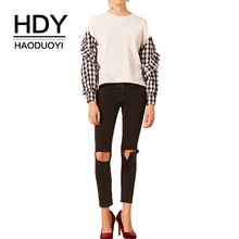HDY Haoduoyi  New Style Autumn Youth Simple Drop Shoulder Stitching Plaid Long-sleeved Wooden Button Cuff Rib Round Neck Shirt