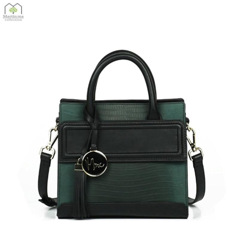 Martin ma 2017 New Italian Embossed Leather Messenger Bag Mini Handsome Handbag