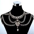El nuevo diseño romántico de novia de la novia cadena del Rhinestone accesorios del vestido de boda del collar de la joyería