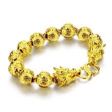 Gold jewelry fashion men, domineering 11 mm24cm dragon bracelet, real 24 k gold plated bracelet will not change