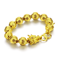 Gold Jewelry Fashion Men Domineering 11 Mm24cm Dragon Bracelet Real 24 K Gold Plated Bracelet Will