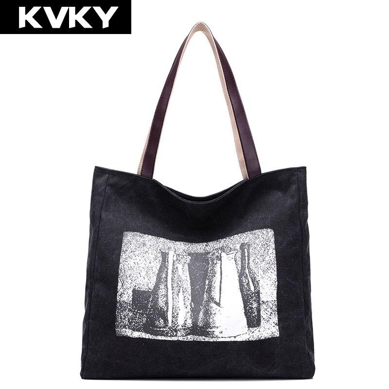 Neue Druck Frauen Leinwand Handtaschen Lässig Große Kapazität Tote - Handtaschen