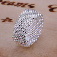 2015 hot sell Women's Silver Plated Fashion Size 6/7/8/9 Wide Band Ring for decoration 56S2