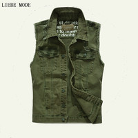 Men S Multi Pocket Denim Vests Men Slim Fit Jeans Jacket Sleeveless For Men Waistcoat Army