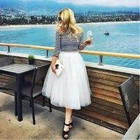 7 Katmanlar 65 cm Uzun Etekler Bayan Yetişkin Tutu Tül Etek Amerikan Giyim Nedime Elbisesi Saias Femininas Düğün Parti Etek