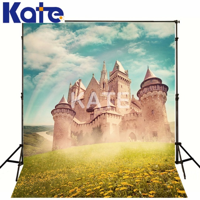 Kate Photography Background Castle Spring Grassland Washable And