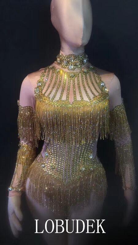 Ds Manches Body Spectacle Dj À Glands D'étape Costume Longues Scintillant Gold Chanteur Strass Porter Partie Stretch Or Sexy Discothèque De q6t67Yw