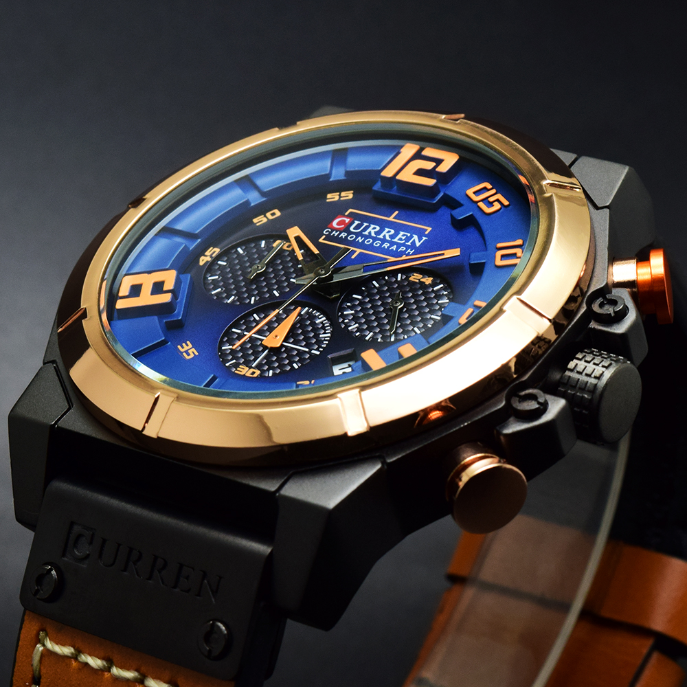 Curren Watch Men Top Brand Luxury Watch Men Blue Dial Analog Quartz Wristwatch Army Military Sports Watches Reloj Hombre Clock ochstin square luxury brand military watch men analog quartz wrist watch leather clock man new sport men watch army reloj hombre