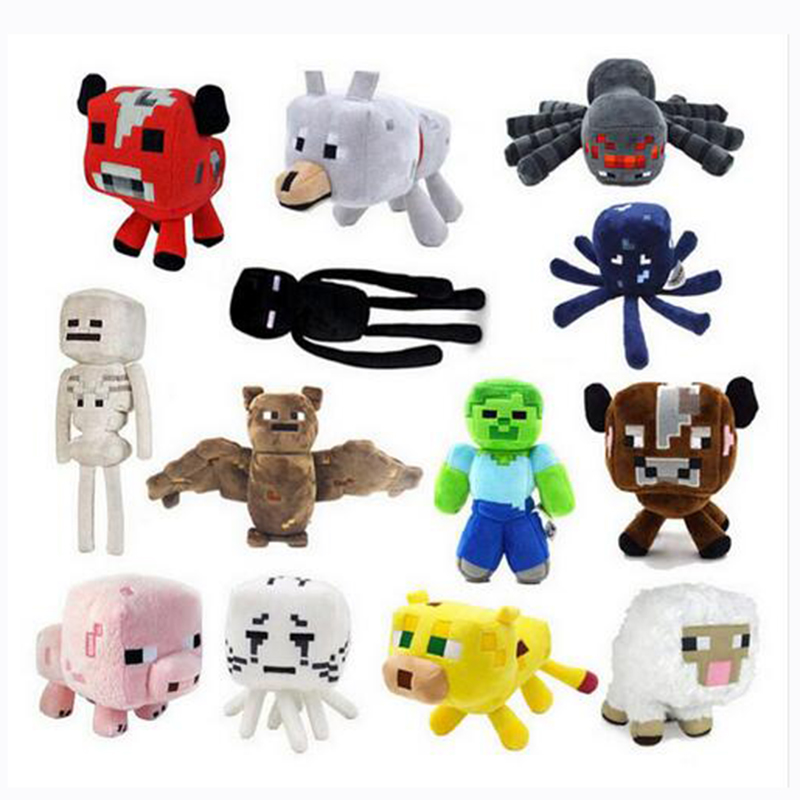15-26cm Crawler Maincraft Wolf Steve Zombie Spider Ghost Doll Pop Style Plush Toy Gift Children Party Gift WJ061