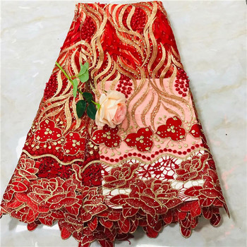 Luxury red beaded French lace cloth embroidery net lace fabric with rhinestones for wedding/party VRN162(5yards/lot)
