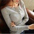 2015 Mujeres, además de terciopelo 100% algodón sexy camiseta femenina primavera camisa básica de Manga larga camiseta delgada