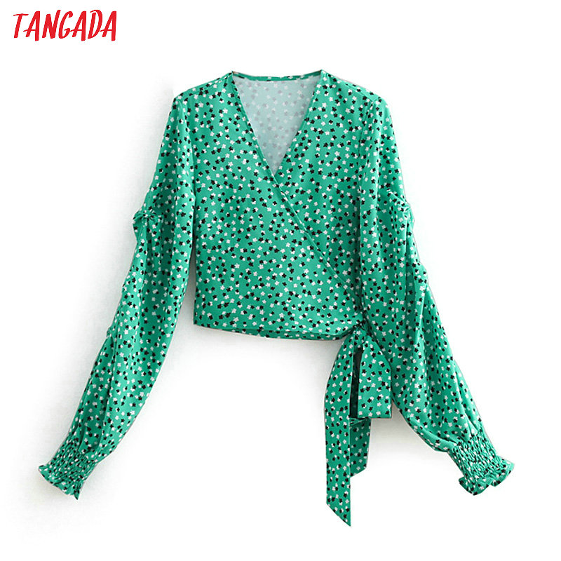 Tangada Women Wrap Blouse Flower Print Sexy Short Chiffon Shirts V-neck Lantern Sleeve Green Shirt Bohemia Holiday Tops Cc363 Women's Clothing