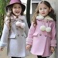 Новая мода дети дети хлопок одежда девочки принцесса двубортный шерстяной пальто траншеи девушки шерсти платье пальто