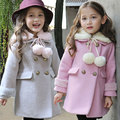 new fashion kids Children cotton clothing baby girls princess double breasted with woolen overcoat trench girls wool dress coat