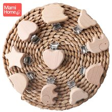 mamihome 4PCS Wooden Teether Animal Pacifier Cilp Baby Accessories Food Grade Wood Chew Toys DIY Chain Teething