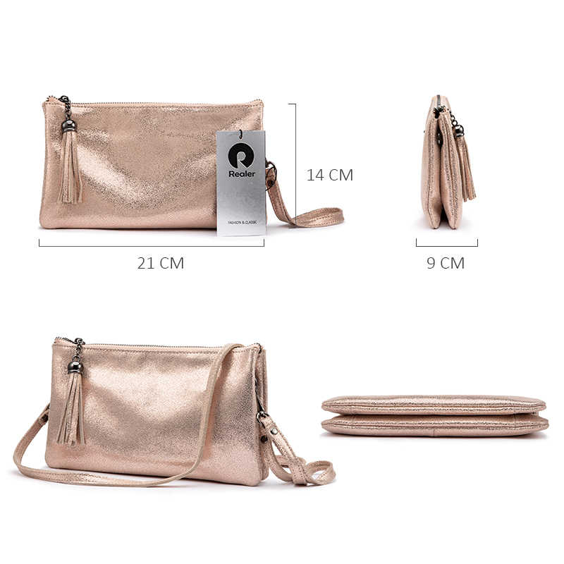 REALER crossbody bags for women genuine leather shoulder bag female clutch evening messenger bag ladies purses and handbags 2019