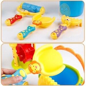 Image 5 - Plastic Kids Beach Toys Sandbox With Cute Animal Model Shovel Rake Bucket Set Outdoor Water Sand Playing Tool Kids Beach Game