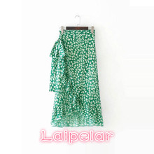 Ruffle wrap floral  skirts womens sash tie up beach summer skirt asymmetric high waist korean streetwear long skirt femme
