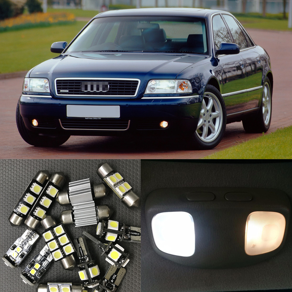 17pcs Xenon White Car Interior LED Light Bulbs Canbus Kit For 1997-2001 Audi A8 D2 Led Map Dome Trunk License plate light Lamp 2pcs 12v 31mm 36mm 39mm 41mm canbus led auto festoon light error free interior doom lamp car styling for volvo bmw audi benz
