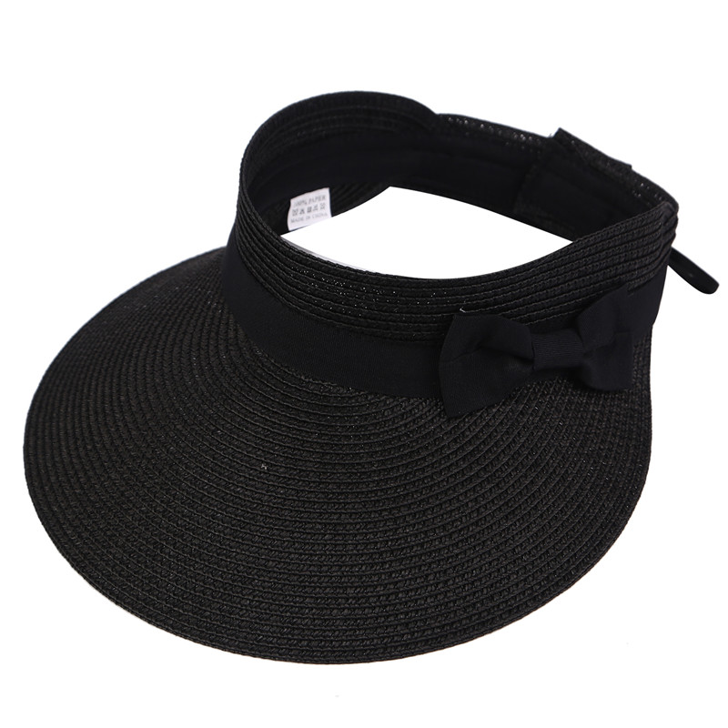 Foldable Beach Cap Summer Straw Sun Hat Large Wide Brim Visor Caps Cute Bowtie Floppy Hats Outdoor Sports hat