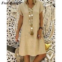 22b903481 (Dostawa od US) Bezpłatne struś 2019 kobiety lato w stylu Feminino Vestido  koszulka bawełniana na co dzień Plus Size panie sukienka na co dzień .